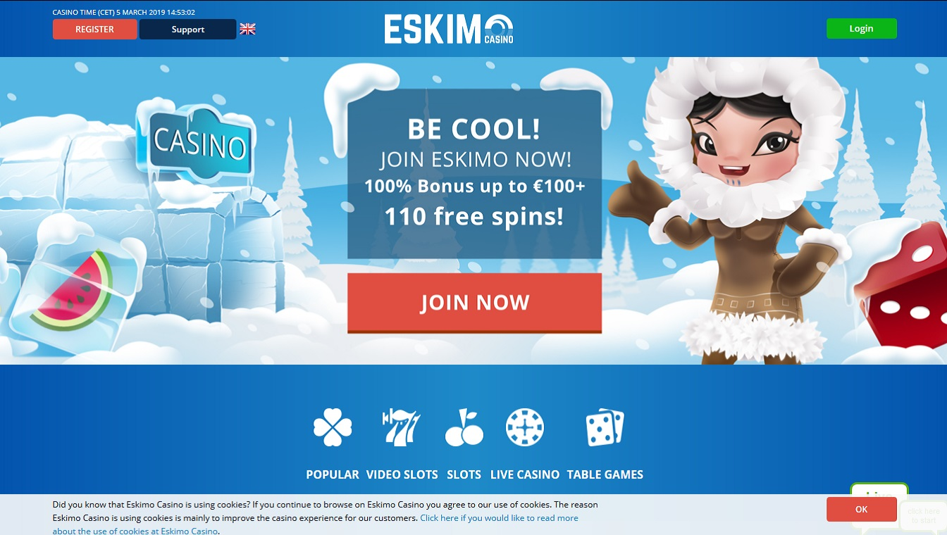 Eskimo Casino Screenshot Home Pagina