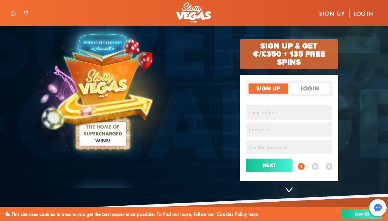 Slottyvegas Casino Screenshot Home Pagina